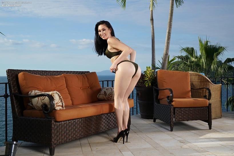 Aria Alexander Teasing On The Terrace 01