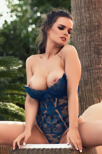 Ashley White In Sexy Blue Bodysuit